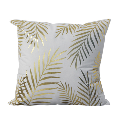 Big Leaf 45*45cm Gold Stamping Cushion Cover